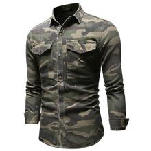 AIOPESON Camouflage Long Sleeve Denim Shirt Men Casual Lapel Single Breasted Fashion Men's Denim Shirt New Spring Mens Shirts