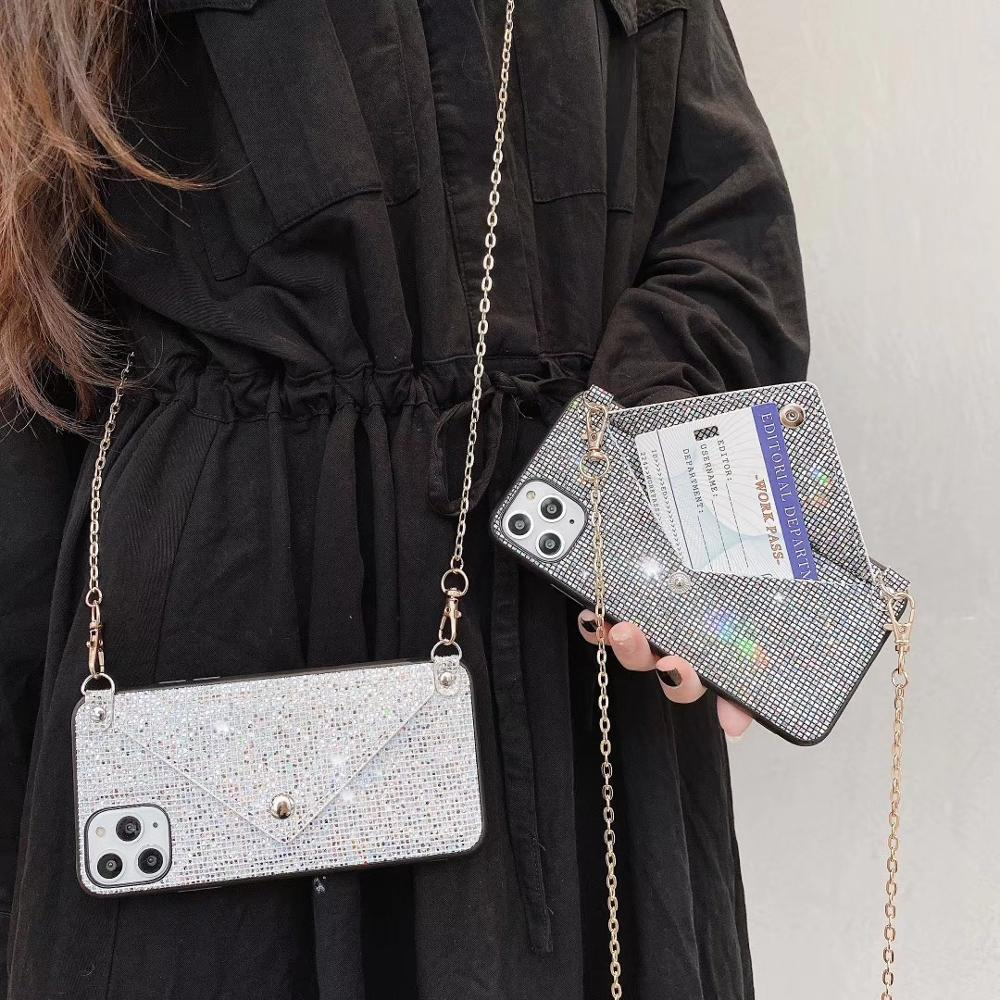 Wallet strap case for iphone X XS MAX 11 Pro Max XR 7 8 6S 6 plus case cover luxury glitter card shoulder lanyard phone bag capa