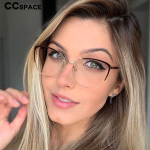 48183 Cat Eye Retro Ultralight Metal Glasses Frames Men Women Optical Fashion Computer Glasses