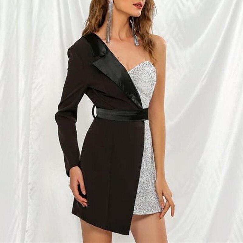 CHICEVER Patchwork Hit Color Women's Dress Asymmetrical Collar One Shoulder Long Sleeve Tunic High Waist Female Dresses 2020 New 1