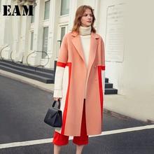 [EAM] 느슨한 맞는 대비 색 분할 큰 크기 모직 코트 파커 새로운 긴 소매 여성 패션 조수 봄 가을 2020 1K900