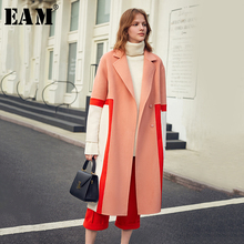 [EAM] Loose Fit Contrast Color Split Big Size Woolen Coat Parkas New Long Sleeve Women Fashion Tide Spring Autumn 2020 1K900
