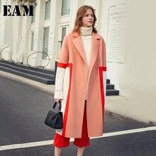 [EAM] معطف صوفي مقاس كبير ومناسب بلون مغاير معطف باركاس جديد طويل الاكمام للنساء موضة المد لربيع وخريف 2020 1K900