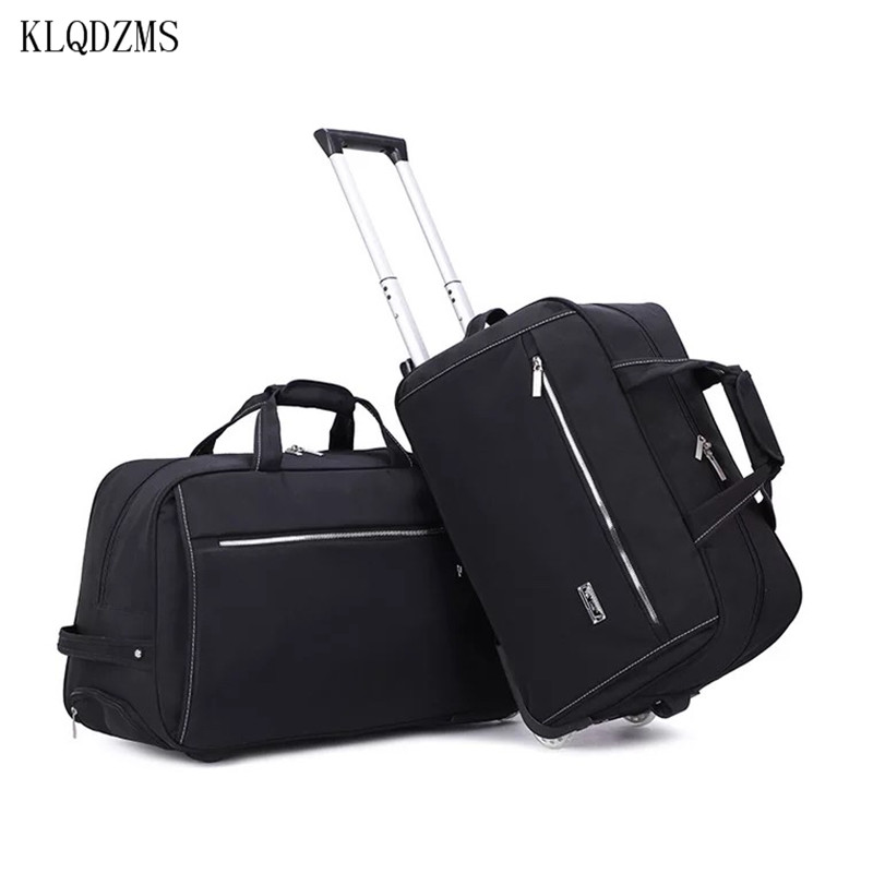 KLQDZMS 20''24 Wheeled Suitcase Trolley Men Spinner Rolling Luggage Oxford Lightweight Detachable Handbag Suitcase Simple Style