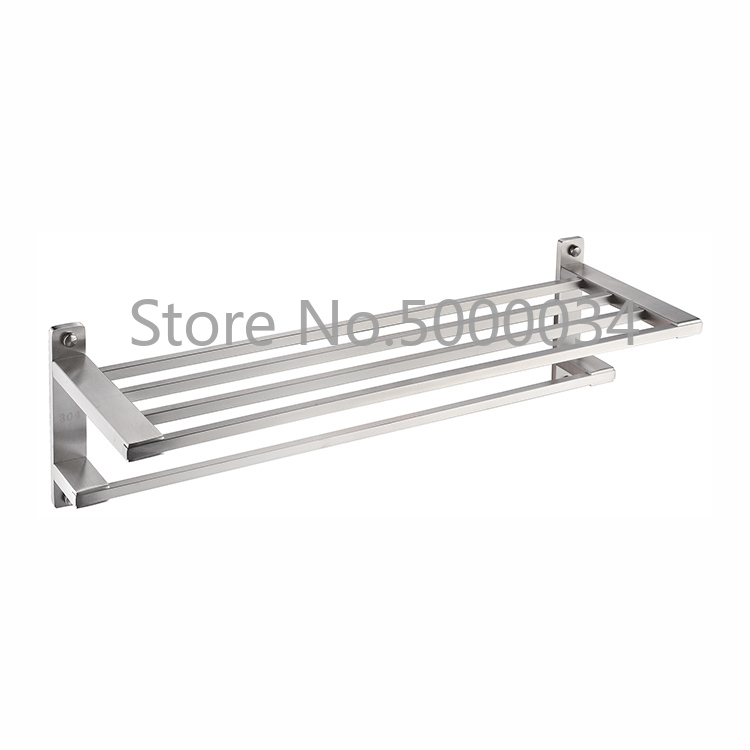 Hotel Wall Hanging Rustproof Towel Rail Bathroom Stainless Steel Rack Shelf