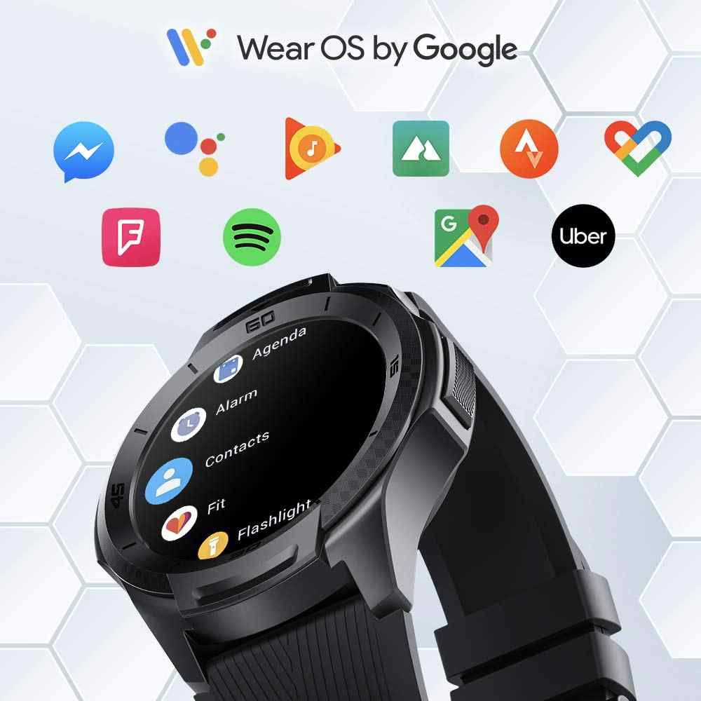 TicWatch S2 착용 OS 안드로이드 착용 Smartwatch 블루투스 GPS 스포츠 시계 남자 5ATM 방수 IOS 및 안 드 로이드에 대 한 긴 배터리 수명