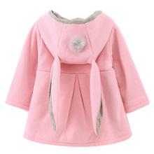 Śliczne ucha królika z kapturem dla niemowląt dziewczyny płaszcz wiosna jesień bluzki dla dzieci ciepłe kurtka odzież wierzchnia płaszcz odzież dla dzieci ubranko niemowlęce dziewczyna płaszcze tanie tanio bibihou Na co dzień COTTON Poliester kids coat Pełna Stałe REGULAR Pasuje prawda na wymiar weź swój normalny rozmiar