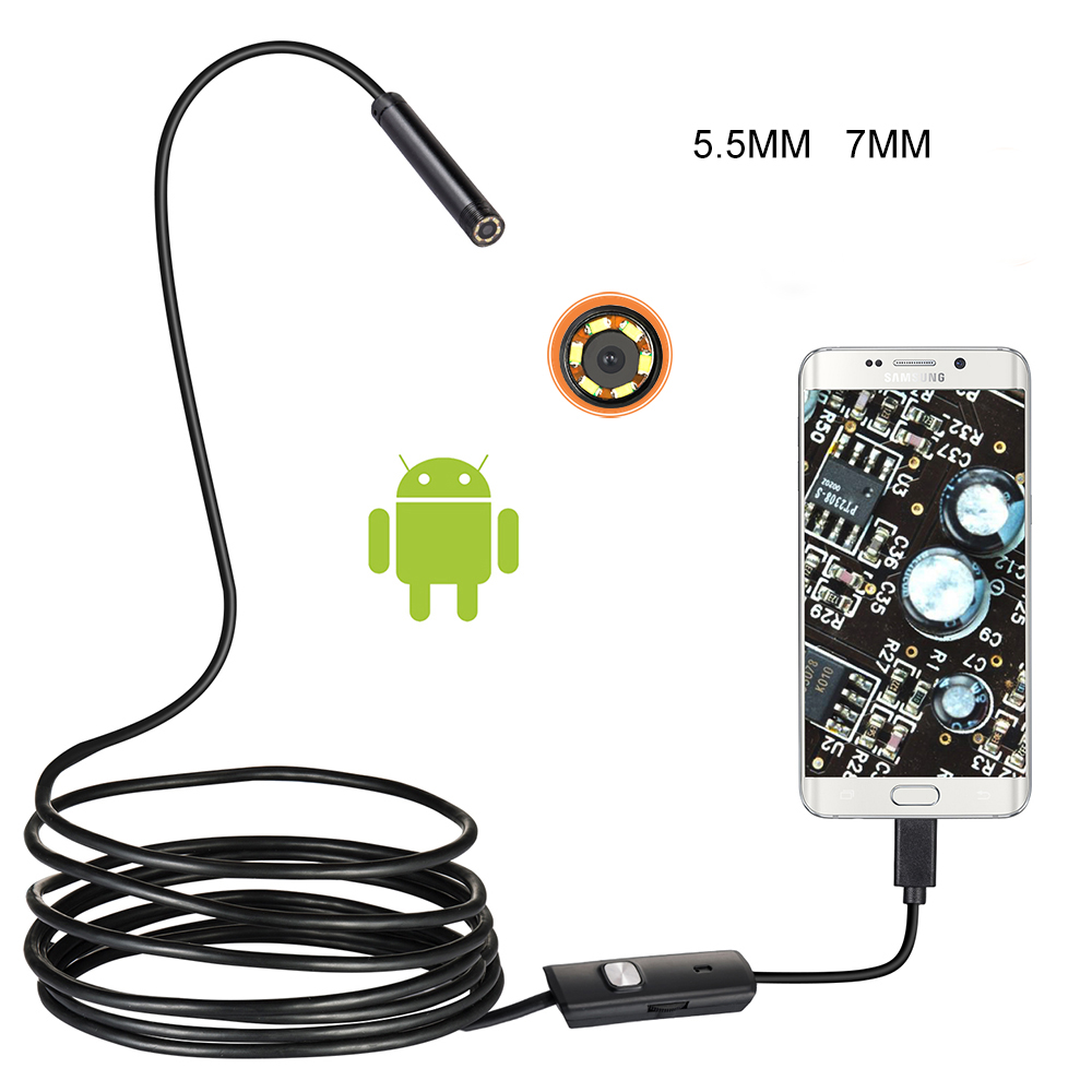 7/5.5mm Lens <font><b>Endoscope</b></font> USB <font><b>flexible</b></font> Snake Waterproof HD Inspection Pipe <font><b>Camera</b></font> Borescope <font><b>Endoscope</b></font> For Android <font><b>Phone</b></font> PC Cars image