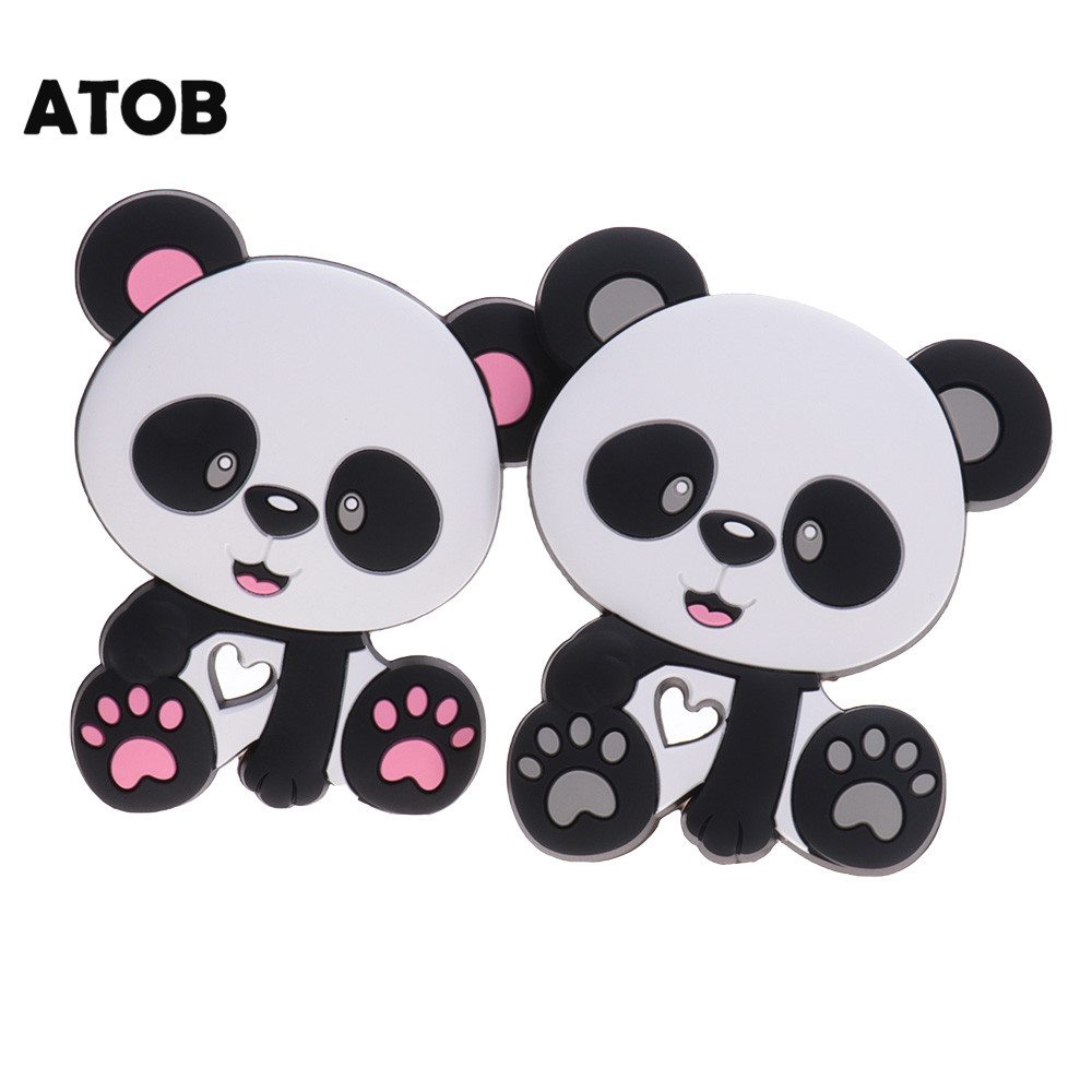 Panda Shape Silicone Teether Baby Teething Silicone Pendant Necklace Accessory H
