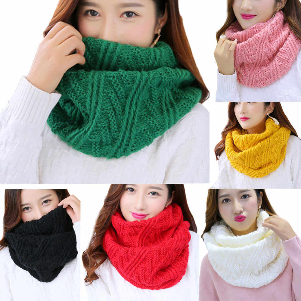 2020 Nieuwe Herfst Winter Fashion Vrouwen Warm Knit Neck Circle Cowl Snood Multifunctionele Sjaal Cowl Snood Lange Sjaal sjaal Wrap #926