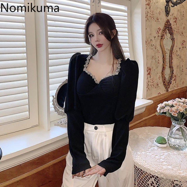 Nomikuma Slim Fit Short Shirts New Fashion Square Collar Long Sleeve Knitted Blouse Women Femme Blusas Elegant Basic Tops Lady 4