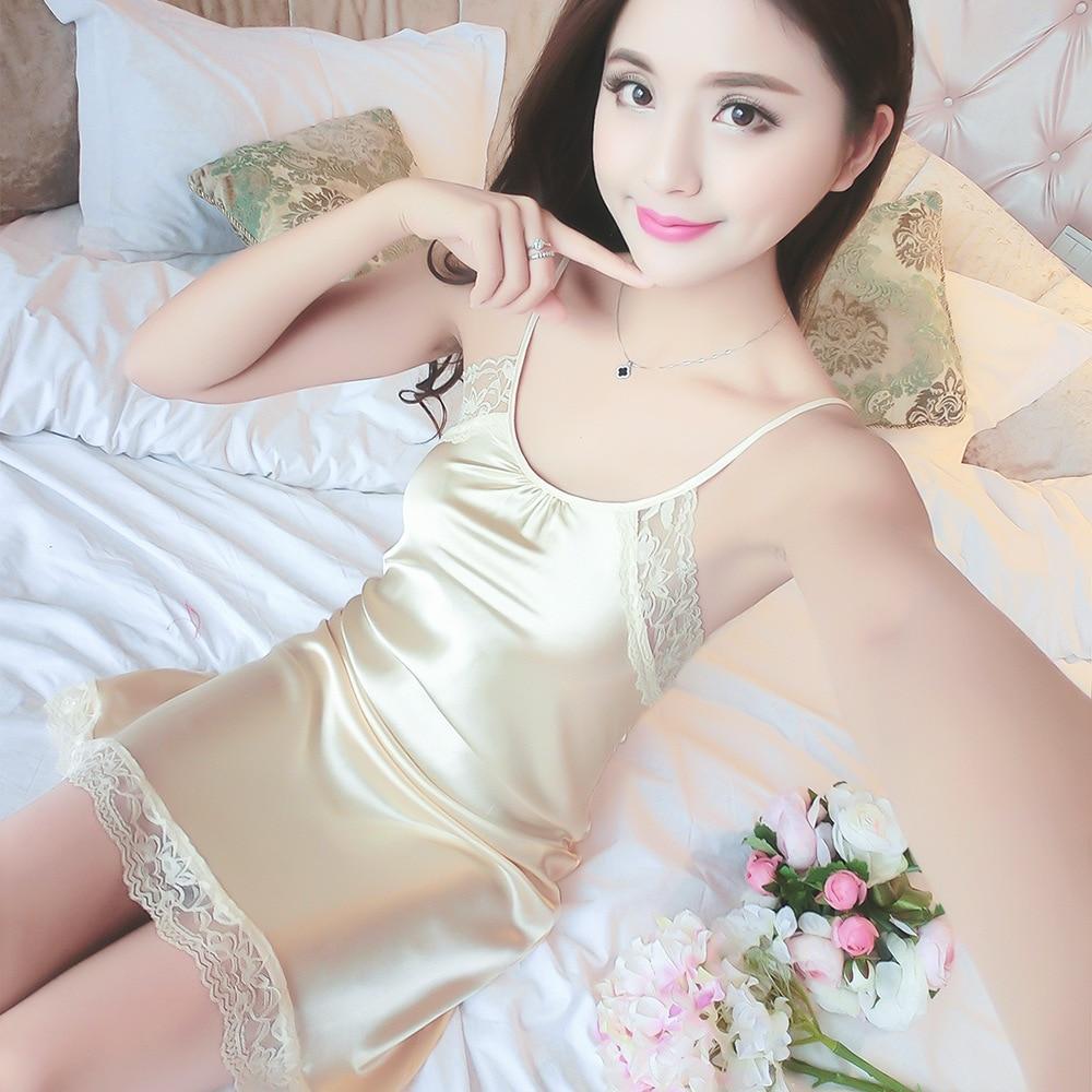 Women Sexy Nightwear Satin Lace Silk Nightshirts Sleepwear Spaghetti Strap Sleepshirts Nightdress Lingerie Night Wear Dress Gown