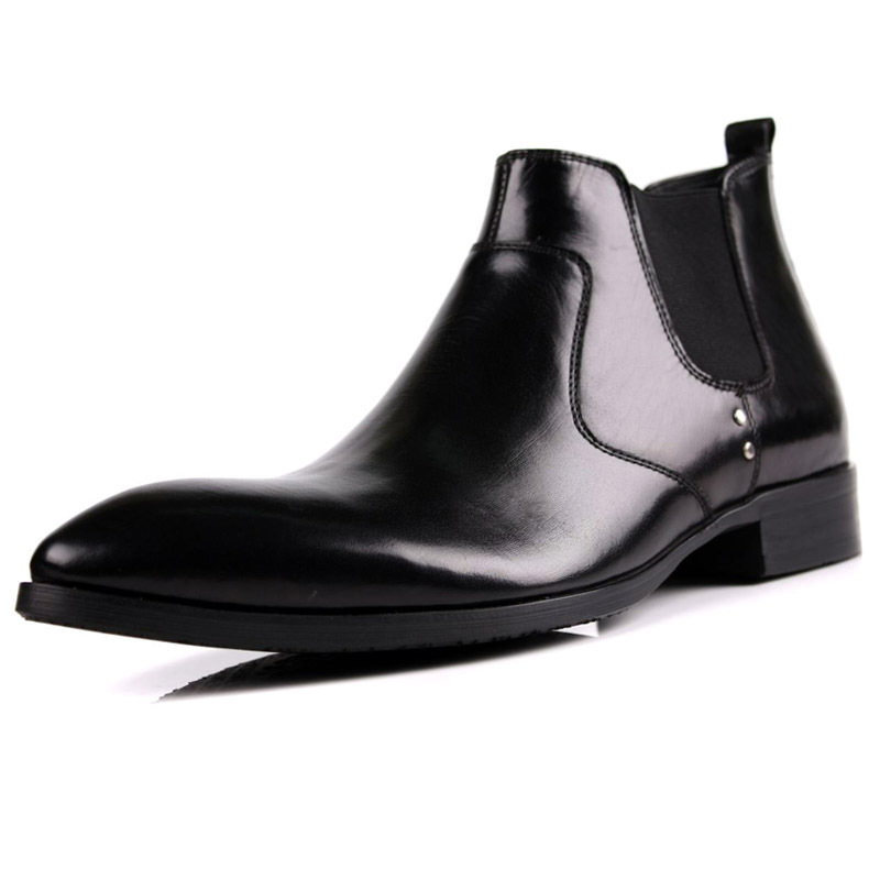 Italy Design Men Chelsea Boots Pointed Toe Knight Luxury Genuine Leather Formal Male Ankle Boots Slip On Business Casual Shoes