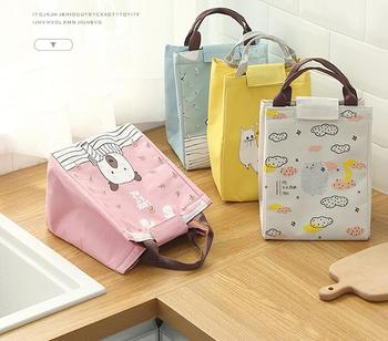 Portable Cooler Insulated Folding Lunch Bag Picnic Thermal Food Tote Canvas Children Velcro Design Lunchbag ZL505