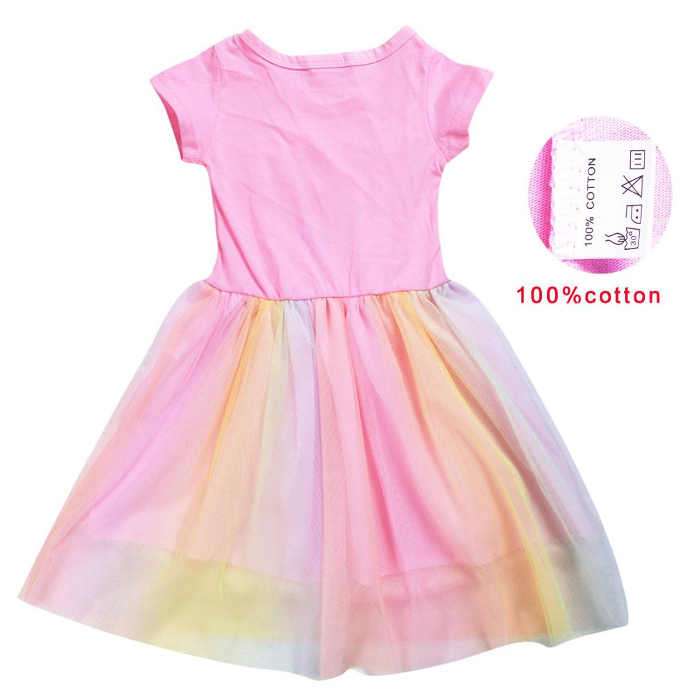 LoL Surprise Summer Girl Kid T Shirt Colour Gauze Pleated Princess Patchwork Dress Cute Cartoon Printed Doll Baby Child Clothes 4