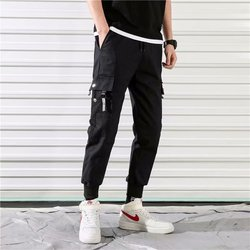 2020 new Fashion pants Cotton Overalls men streetwear pants Simple Big Pocket Hip Hop Style  youth sports Full length  pants