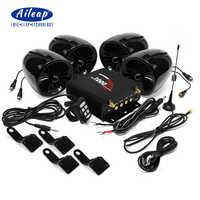 Aileap 1000W amplificador Bluetooth moto estéreo 4 MP3 de Audio FM sistema de Radio para HARLEY/SUZUKI/HONDA/ATV/UTV (negro)