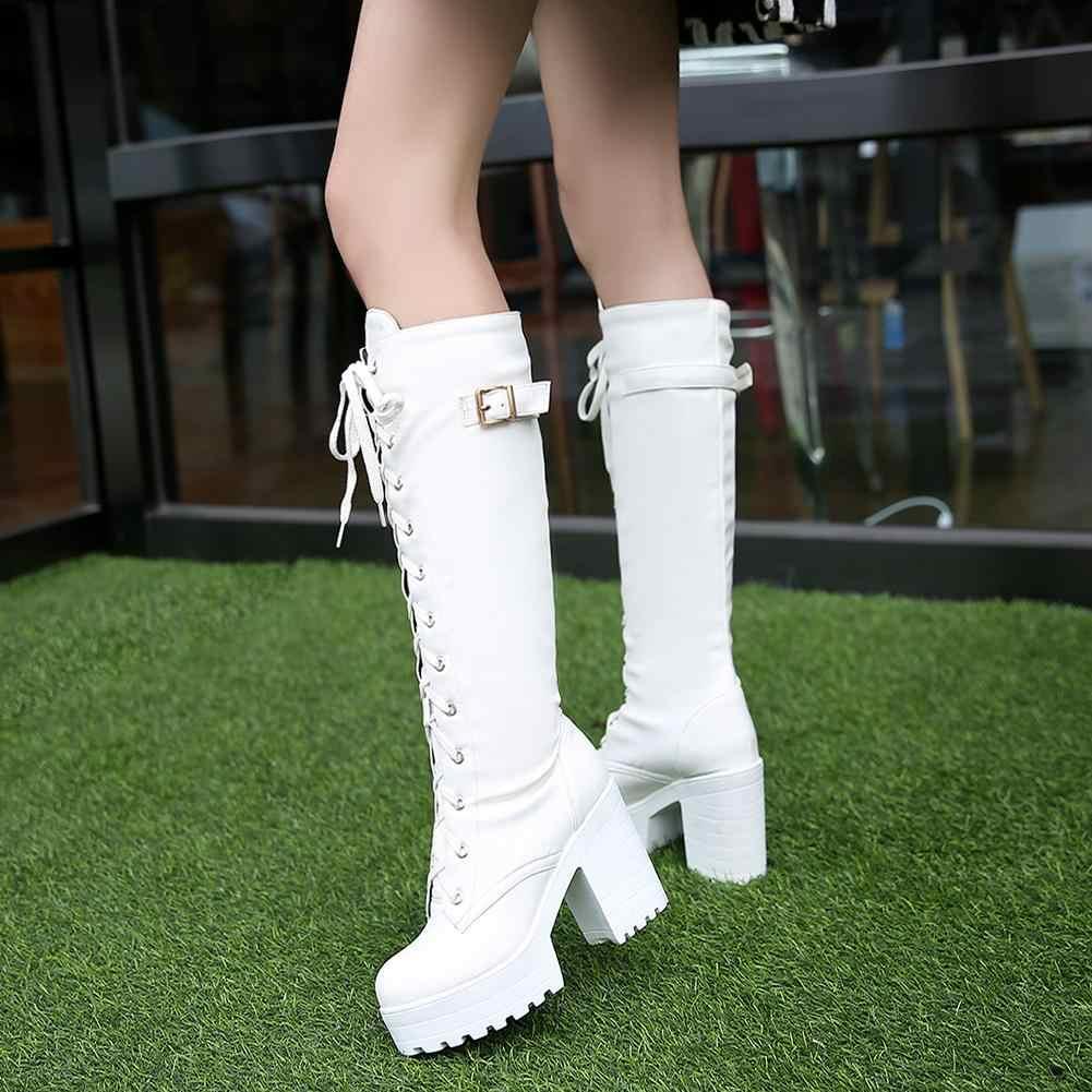 KARINLUNA 34-43 Elegant สุภาพสตรีแพลตฟอร์มกลางลูกวัวรองเท้าผู้หญิง 2019 Chunky รองเท้าส้นสูงวันที่รองเท้าผู้หญิง