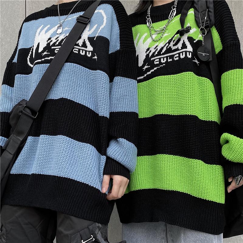 Women's sweater stripe letter casual tops harajuku pullover autumn dropshipping vintage punk Hip hop streetwear Korean clothing