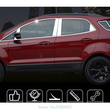 цена на Stainless Steel Strips Car Window Trim Decoration Side Body Sticker Car styling For 2013-2018 Ford Ecosport 2019 Accessories