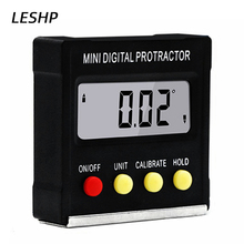 1pc Black Mini Digital Protractor Electronic Inclinometer Angle Gauge 360 Tilt Angle Vertical Magnetic Tractors