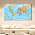 150*100 см карта мира, детальный плакат, Нетканая Картина на холсте, настенное искусство, декор для гостиной, домашний декор, школьные принадлеж...