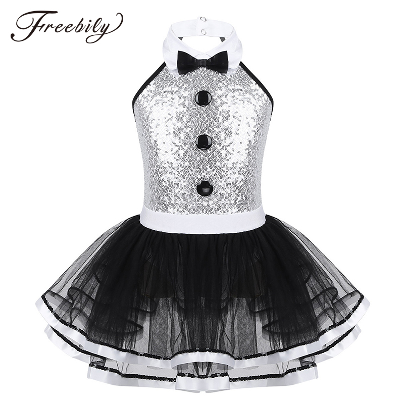 Kids Girls Ballet Tutu Dress Sleeveless Shiny Sequins Decorative Buttons Dance Gymnastics Leotard Mesh Modern Jazz Dance Costume