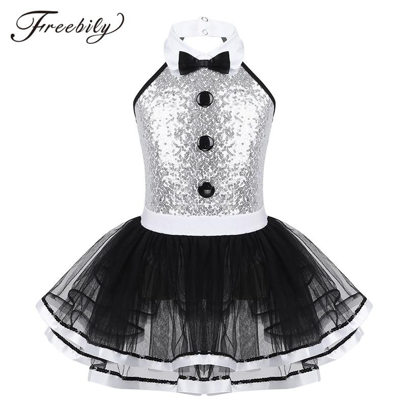 Kids Girls Ballet Tutu Dress Sleeveless Shiny Sequins Decorative Buttons Dance Gymnastics Leotard Mesh Modern Jazz Dance Costume