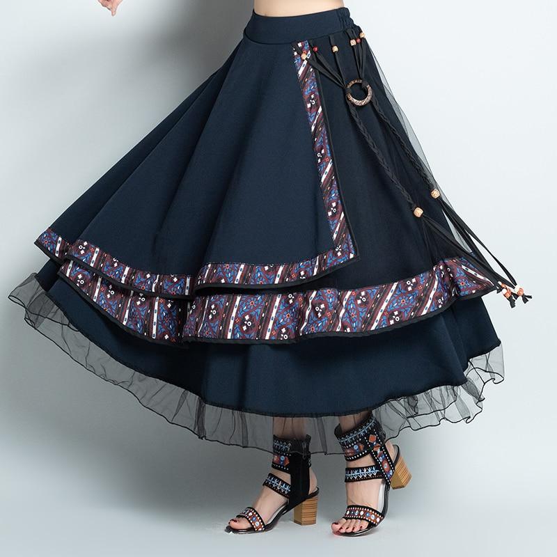 Faldas Mujer Moda 2019 Vintage Skirts Womens Autumn Winter Mexico Style Ethnic Designer Long Navy Blue Asymmetric Skirt