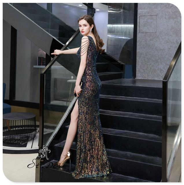 S.T.DES Evening Dress 2020 New Arrival colorful Beading Mermaid V-Neck colorful Sleeveless Floor Length Party Dress Dinner Gowns 1