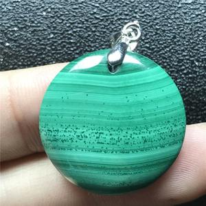 Image 5 - 24x6mm Natural Green Malachite Necklace Pendant For Woman Lady Man Crystal 925 Silver Round Beads Stone Pendant Jewelry AAAAA