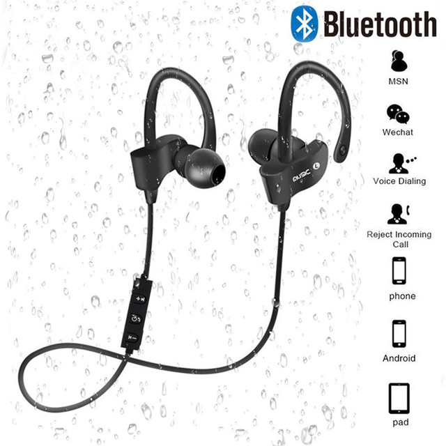 Wireless Bluetooth Earphones Sport Earbuds Stereo Headset With Mic Earloop Ear Hook Headphone Handsfree Earpiece For Smartphones