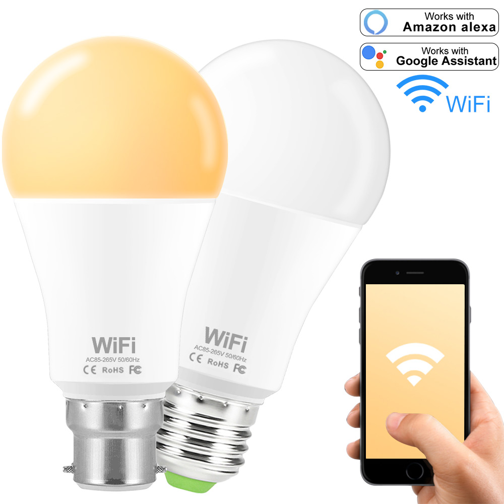 E27 B22 WiFi Smart LED Light Bulb Dimmable Wifi Led Lamp 15W Wireless Control Compatible With Amazon Alexa Google Assistant