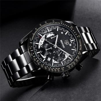 BENYAR Fashion Sport Watch Men Top Brand Luxury Black Male Chronograph Clock Military Stainless Steel Waterproof Wristwatch 5120 2