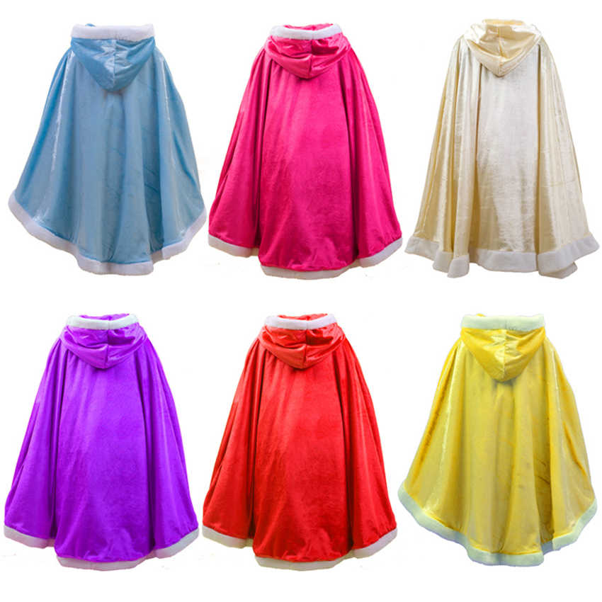 Children Fancy Halloween Cosplay Costumes Frozen Cloak Stage Performance Hooded Wizard Shawl Girls Velvet Warm Solid Cape