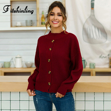 Fitshinling Buttons Up Womens Winter Sweater 2019 Boho Half Turtlenecks Sweaters Pullovers Long Sleeve Knit Jumper Pull Femme