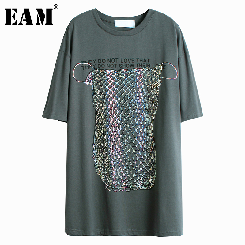 [EAM] Women Gray Letter Printed Sequins Split Big Size Long T-shirt New Round Neck Half Sleeve  Fashion Spring Summer 2020 1W348 1