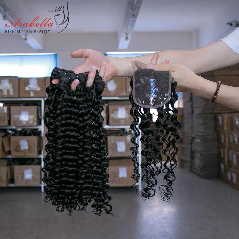 Arabella Supper Double Drawn Deep Wave Hair Bundles With Lace Closure 100%   Bundles Virgin Hair  5