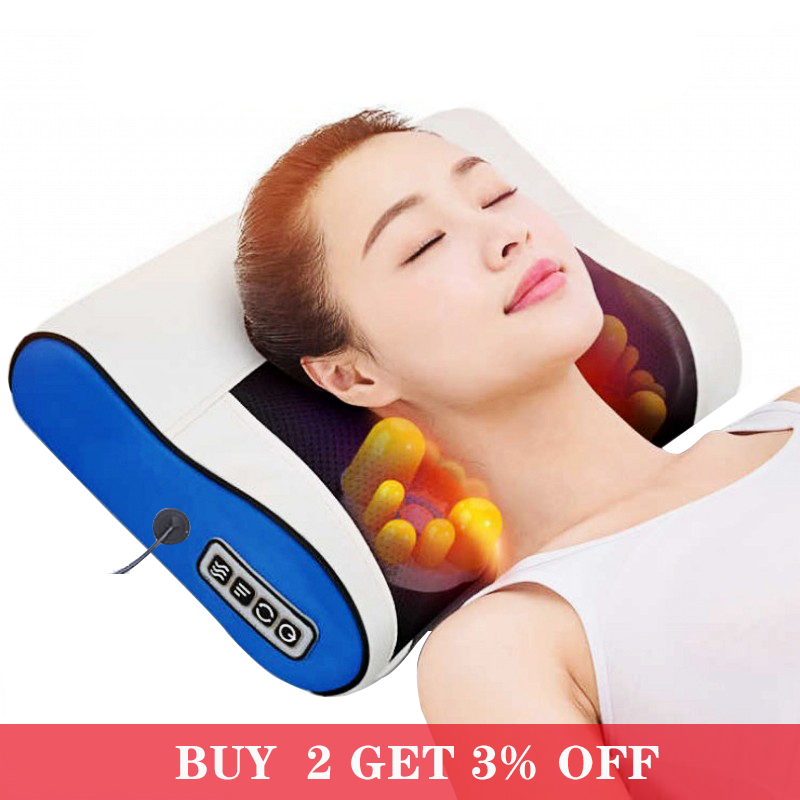 Infrared Shiatsu Heating Electric Massager Back Neck Shoulder Massager Pillow Body Healthy Massageador Relaxation Massage|Massage Pillow| - AliExpress