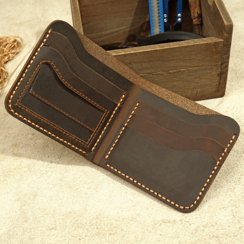 Handmade Genuine Leather Men Wallet Retro Short Wallet Men Durable Real Leather portfel male breif cartera hombre