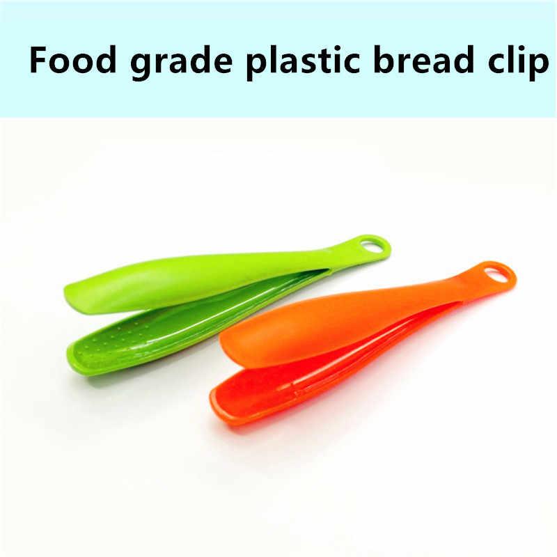 14.7*3.5cm cor de plástico pinças de alimentos antiaderente churrasco clipe de comida salada tong utensílios de cozinha acessórios 3 cores salada