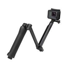 Bastão de selfie monopé à prova dágua, tripé de 3 vias com suporte para gopro hero 7 6 5 4 session para yi 4k sjcam eken para go pro acessório
