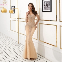 Dubai Luxury Beaded Crystal Mermaid Evening Dresses 2019 New V-Neck Three Quarter Sleeves Sequin Rhinestones Formal Party Gowns