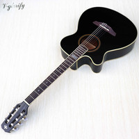good quality 40 inch left hand nylon acoustic guitar with electric pickup black color matte