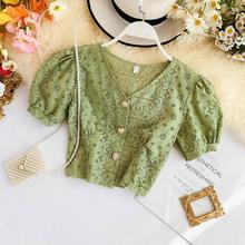2019 new fashion women's retro V-neck openwork lace shirt short-sleeved female s
