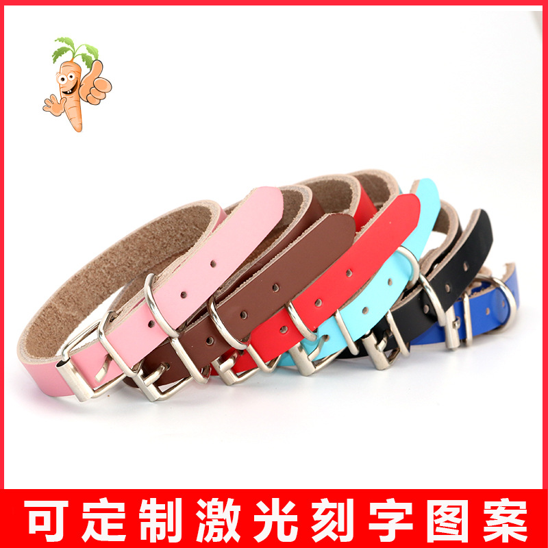 Pet Cow Leather Collar Large And Small Dogs Hand Holding Rope Pu Bandana Cat Collar Genuine Leather Lettering Neck Ring Supplies
