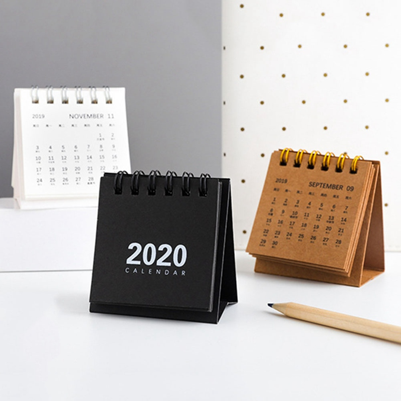 2020 New Year Mini Table Calendar Kawaii Simple Desk Coil Notepad Kraft Paper Calendar Daily Schedule Yearly Agenda Organizer