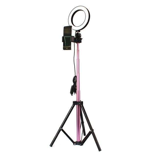 Różowa dioda LED światła 7W LED światła okrągłe aparat do selfie lampa z lekki statyw regulowana jasność 16/20/26cm Show na żywo robienia zdjęć