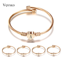 Rose gold Color Stainless Steel Heart Bracelet Bangle With Letter Fashion Initial Alphabet Charms Bracelets For Women