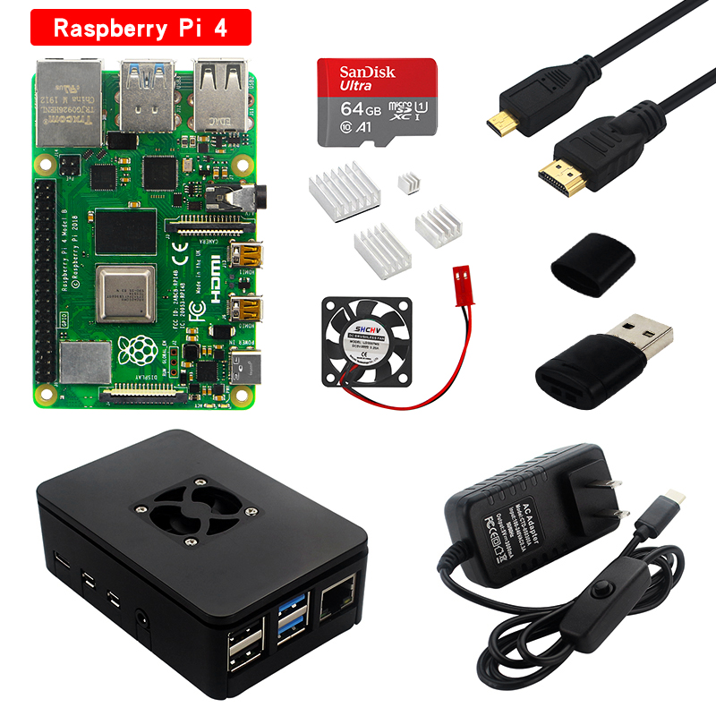 Raspberry Pi 4 Model B Kit 2GB 4GB RAM Board   Heatsink   Case   32 64 SD Card   HDMI Cable   Power Supply for Raspberry Pi 4B